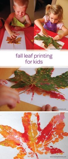 Let your little one enjoy an afternoon of painting and making a mess with child-safe paint and create this fall leaf printing toddler craft. This is a quick and creative DIY project that can easily double as a fun learning activity for your toddler to pra Autumn Crafts, Fall Crafts For Kids, Kids Crafts, Holiday Crafts, Art For Kids, Craft Projects, Kids Diy, Craft Ideas, Fall Art For Toddlers