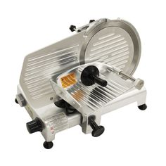 Meat Slicer ID: commercial style deli slicer features a belt-driven 320 watt motor, heavy duty stainless steel blade, detachabl Small Kitchen Appliances, Cool Kitchens, Meat Slicers, Blade Sharpening, Restaurant Equipment, Thing 1, Specialty Appliances, Aluminum Metal, Food Industry
