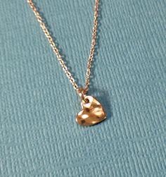 Rose gold vermeil hammered heart necklace by WendyShrayDesigns, $24.00