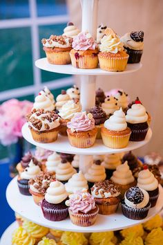 Wedding cupcake tier. Sooo... yummy | Photo credit: Dana Cubbage Weddings, wedding cupcakes: Cupcake DownSouth
