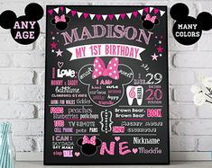 Minnie Mouse First Birthday chalkboard sign - 1st bday party chalk board poster banner milestone boy girl stats - Printable (ID39)