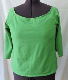 Soft Surroundings Women Green Built In Bra Long Sleeve Shirt Size 38DD #SoftSurroundings #Blouse