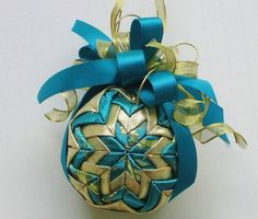 Quilted+Ornament+Teal+and+Gold+by+Elibet+on+Etsy,+$18.00