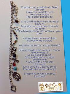Historia de Jesús, pulsera Diy Jewelry, Beaded Jewelry, Handmade Jewelry, Jewelry Making, Beaded Bracelets, Christian Bracelets, Religious Jewelry, Diy Necklace, Bracelet Patterns