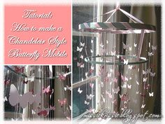 Missie Krissie: Tutorial :: How to make a Chandelier Style Butterfly Mobile Heart Template, Butterfly Template, Flower Template, Crown Template, Butterfly Mobile, Butterfly Baby, How To Make A Chandelier, Diy Chandelier, Mobile Chandelier