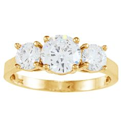 Alyssa Jewels 14k Gold Round Cubic Zirconia Engagement-style High-polish Ring (Yellow Gold, Size 8), Women's