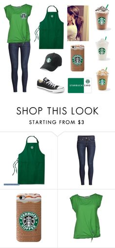 """Starbucks barista"" by haleyhuson ❤ liked on Polyvore featuring H&M, jucca and Converse"
