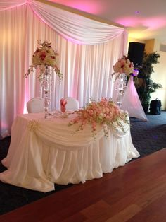 Follow us @SIGNATUREBRIDE on Instagram and Twitter and on FACEBOOK @ SIGNATURE BRIDE MAGAZINE Wedding Reception Backdrop, Wedding Stage Decorations, Girl Baby Shower Decorations, Wedding Centerpieces, Bridal Table, Wedding Table, Wedding Designs, Wedding Styles, Pearl Bridal Shower