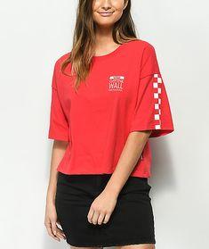574bd4c59bdd8 Vans Checkerboard Red   White Crop T-Shirt