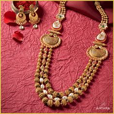 Designer Gold Jewellery Sets for Women Antara Jewellery Gold Bangles Design, Gold Jewellery Design, Gold Jewelry, Bridal Jewelry, Gold Earrings, Gold Necklace, Gold Watches Women, Indian Jewelry Sets, Antara