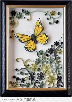 paper quilling- ideas for Christmas gift Neli Quilling, Quilling Butterfly, Quilling Flowers, Butterfly Crafts, Paper Flowers, Monarch Butterfly, Butterfly Frame, Quilling Ideas, Butterfly Flowers