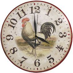 This Rooster Clock with an aged look is absolutely perfect for country decor.