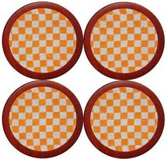 University of Tennessee Checkered Needlepoint Coasters in Orange and White by Smathers & Branson