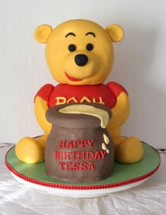 Pooh Bear Cake - Marble cake with RTK head covered in fondant.