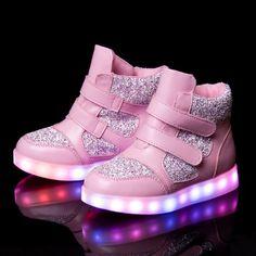 Pink Kids High Tops LED Light Up Shoes