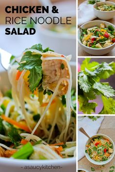 Chicken and Rice Noodle Salad//Gluten Free & Low Fodmap