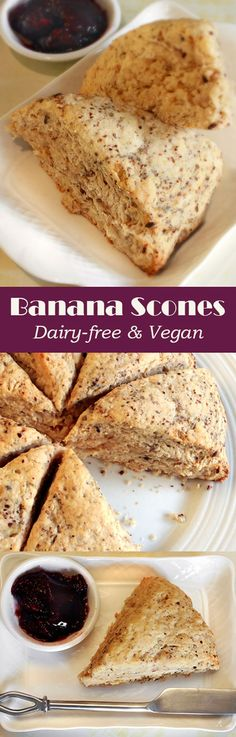 Dairy-free & Vegan Banana Scones - came out pretty good. Next time adjust the baking powder up a little (from 3 tsp) and chill the coconut oil beforehand, assembling like regular scones. Vegan Treats, Vegan Foods, Vegan Dishes, Vegan Desserts, Dessert Recipes, Paleo Diet, Party Desserts, Paleo Dessert, Scone Recipes