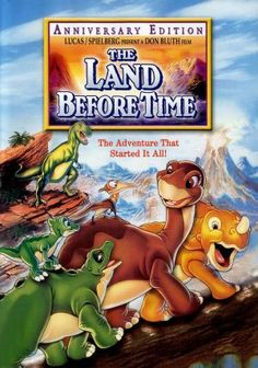 The Land Before Time. An image from one of these movies popped up on my Facebook feed, and I couldn't remember the name, so I searched in the comments. But now the only character name I remember is Little Foot. :)