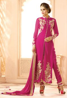 Buy Fuchsia Faux Georgette Kameez with Straight Pant online, work: Embroidered, color: Fuschia, usage: Party, category: Salwar Kameez, fabric: Georgette, price: $81.12, item code: KAE312, gender: women, brand: Utsav