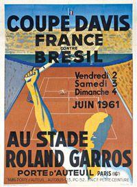 Amateur de Sport, Raymond Templier a Dessiné pour le Tennis - Affiche Coupe Davis Stade Roland-Garros France Brésil - 1961