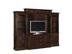 Shop for Hooker Furniture Sienna Canyon Home Theater Group, and other Home Entertainment Entertainment Centers at Englishman's Interiors in Dallas, TX. The appealing Sienna Canyon collection is crafted from hardwood solids with cherry veneers and resin. Gaming Furniture, Home Entertainment Furniture, Home Entertainment Centers, Hooker Furniture, Dining Room Furniture, Luxury Furniture, Dallas Furniture Stores, Furniture Catalog, Traditional Home Furniture