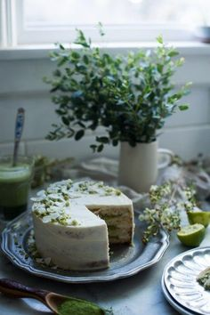 coconut, lime and matcha cake with white chocolate buttercream - oh honey bakes