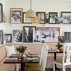 Perhaps it's a cafe, but this would be an adorable arrangement for a breakfast nook.
