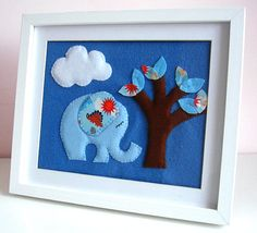 Felt+3+D+picture++Blue+Elephant+Picture+++Babys+by+FlossyTots,+£19.99