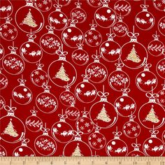 Christmas Novelties Ornaments Metallic Red from @fabricdotcom  From Choice Fabrics, this Christmas themed cotton print is so joyful! It is perfect for quilting, apparel, and home decor accents. Colors include red and white with gold metallic accents.