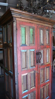 Www Casamexicanaimports Armoire Made Of Reclaimed Mexican Door Pieces Funky Painted Furniture