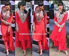 Chitrangada Singh At Forbes Million Race in a suit by Nupur Kanoi (and Eina Ahluwalia earrings).