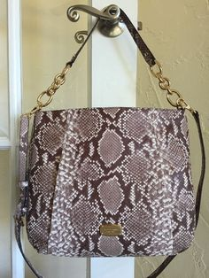 Michael Kors Hallie Large Convertible Shoulder Bag Dark Sand Embossed Leather | eBay