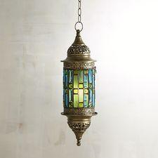 Caravan Blue & Green Gems Hanging Lantern