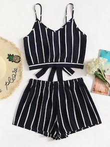 Shop Striped Knot Cami Top With Shorts online. ROMWE offers Striped Knot Cami Top With Shorts & more to fit your fashionable needs. Cute Summer Outfits, Casual Outfits, Girl Outfits, Fashion Outfits, Shorts Co Ord, Co Ord Sets, Outfit Trends, Two Piece Outfit, Clothing Co