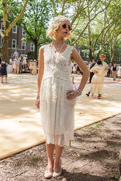 Pin for Later: All the Inspiration You Need For the Perfect Flapper Girl Costume Flapper Girl Costume Inspiration Channel '20s-inspired charm with a sweet lace dress.