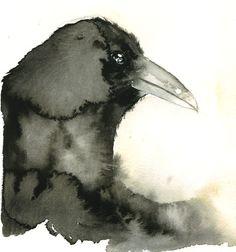 """Raven"" watercolor Poor Dog Farm on Etsy Crow Art, Raven Art, Bird Art, Watercolor Bird, Watercolor Animals, Watercolor Paintings, Watercolors, Watercolor Portraits, Watercolor Landscape"