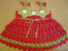 Croche pro Bebe: Vestido Moranguinho em croche