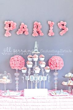 glass, crystals and fabulous letters Enchanting Paris- Party in a Bucket for Adorable Eiffel Tower Girls BIRTHDAY Party Kit Paris Birthday Parties, Birthday Party Themes, Girl Birthday, Birthday Table, Paris Theme Parties, Paris Party Decorations, Birthday Ideas, Pink Decorations, Themed Parties