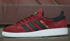 ADIDAS SPEZIALS ARE FAST BECOMING AS POPULAR AS HAMBURGS AND GAZELLES THANKS TO SOME FANTASTIC COLOURWAYS LIKE THESE IN CARDINAL RED SUEDE WITH BLACK LEATHER TRIM WITH THE SPEZIAL NAME AND THE ADIDAS TREFOIL ON THE HEEL PICKED OUT IN GOLD