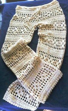 Low Waist Hand Crochet Long Pants Beach by CokettaBeachwear Sie Badebekleidung diy Items similar to Pichilemu Low Waist Hand Crochet Long Pants - Beach Resort Vacation - Bikini Swimwear Bathing Suit Beach Cover Up on Etsy Shorts Crochet, Bikinis Crochet, Crochet Diy, Crochet Halter Tops, Crochet Skirts, Crochet Woman, Crochet Clothes, Hand Crochet, Crochet Stitches