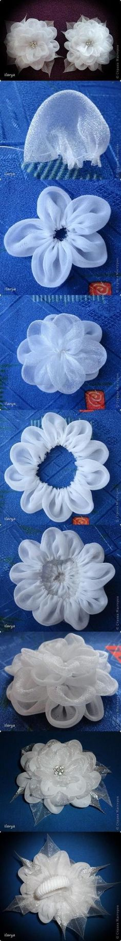 DIY Fabric Flower starts with a circle folded in half and then stitched.