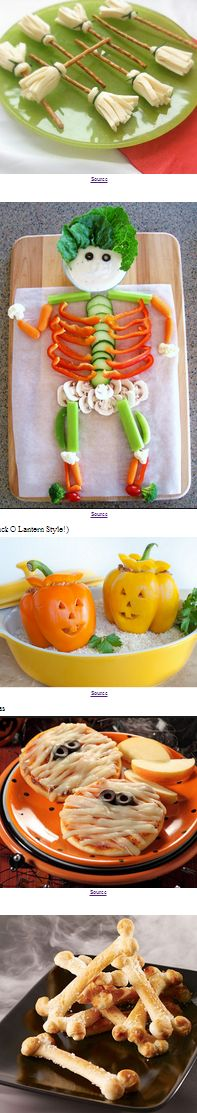 If you're experiencing a diabetic coma just thinking of all that sugar overload, you might consider making these really creative healthy Halloween snacks with an entertainment factor!