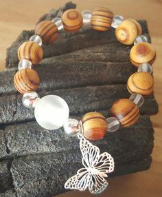 Bracelet perles bois zébrées et perles de verre : Bracelet par vel