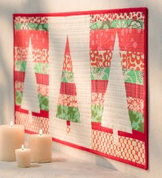 Pretty modern Christmas tree quilt! From Sew the Perfect Gift.