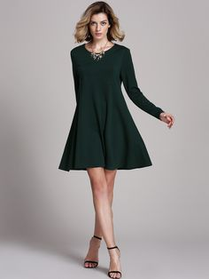Dark Green Tees House Long Sleeve Designers Casual Dress | Dress ...