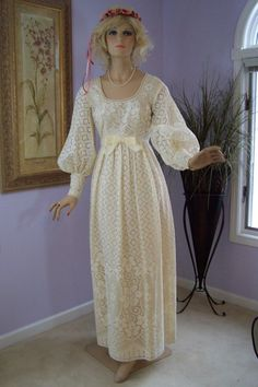 Vintage 60s Wedding Dress Mike Benet Victorian Style by jantiques,   Only for the sleeves