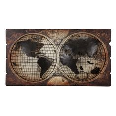 The world at a glance. Antique brown double hemisphere wall plaque map commands attention in a den, game room, or well-appointed home office. Metal half spheres add texture and relief over decoupage background.