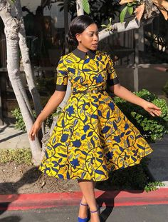 Latest Ankara Styles 2018 Style Inspiration: Get inspired and have your custom African print dress made by Tribe of Afrik Short African Dresses, African Print Dresses, African Print Fashion, Africa Fashion, African Fashion Dresses, African Attire, African Wear, Fashion Outfits, African Dress Styles