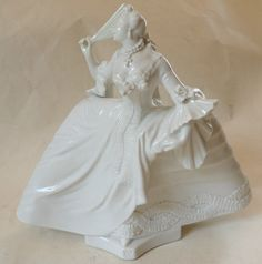 Nymphenburg German Blanc de Chine Porzellan Porcelain Figurine Lady with Fan