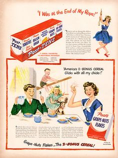 1949 Post Grape Nuts Flakes Cereal Original Food and Drink Print Ad